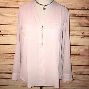 Express Blush Pink Zip Front Blouse